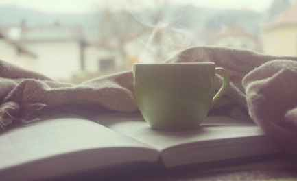 book with coffee cup
